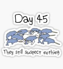 Day 45. They still suspect nothing (Narwhals + Unicorn) Sticker