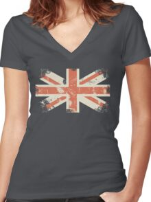 grungy UK flag Women's Fitted V-Neck T-Shirt