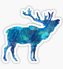 Painted Blue Moose Sticker