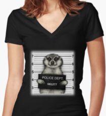 Meerkat Mugshot Women's Fitted V-Neck T-Shirt