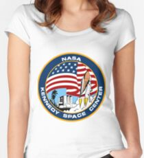NASA's Kennedy Space Center Logo Women's Fitted Scoop T-Shirt