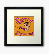 Pierre est Magnifique - cartoon drawing of trapeze artist with handsome mustache Framed Print