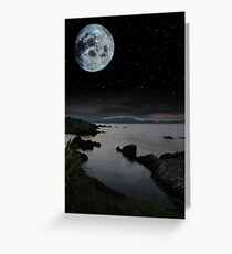 tranquil night time coastal irish view Greeting Card
