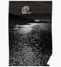 tranquil rocky kerry moonlit night view Poster