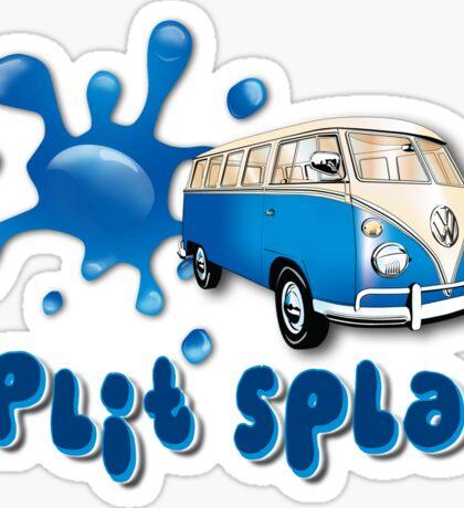 Volkswagen Kombi Tee shirt - Split Splat Blue Sticker