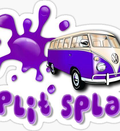 Volkswagen Kombi Tee shirt - Split Splat Purple Sticker