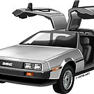 Legendary DeLorean sportscar, 80-ies symbol. by GerbArt