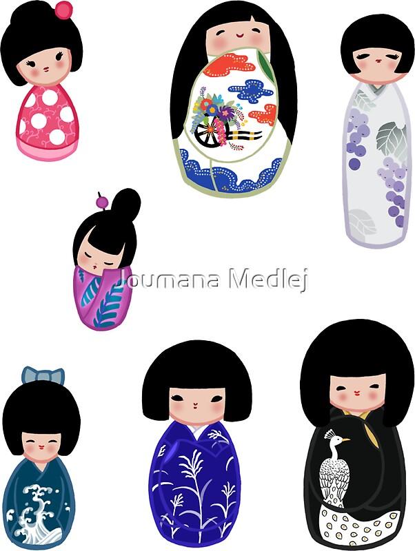 Kokeshi stickers 5 stickers by joumana medlej redbubble for Stickers kokeshi