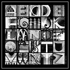 Savannah Alphabet - Black and White, square by Ellen  Hagan