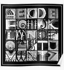 Savannah Alphabet - Black and White, square Poster