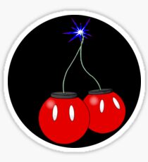 Cherry Bob Omb sticker on black Sticker