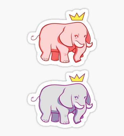 Pink-Blue Elephants Sticker