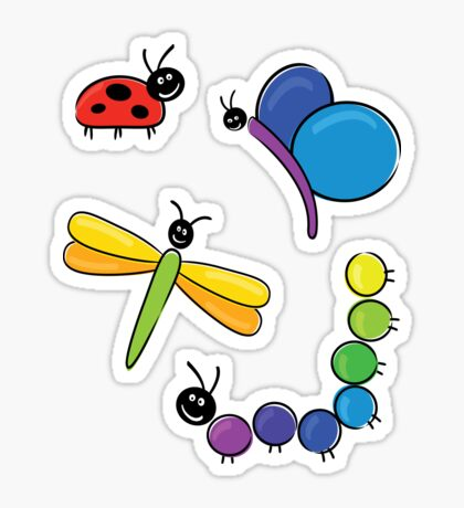 happy little bugs Sticker