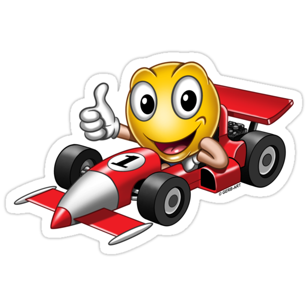 Quot Smiley Racing Car Quot Stickers By Gerbart Redbubble