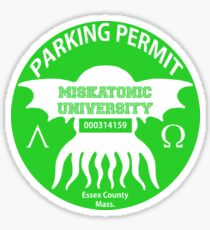 Miskatonic University Parking Permit Sticker