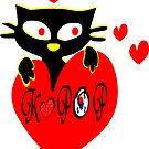 Black kitty love KPOP vector art by cheeckymonkey