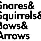 Snares& squirrels& bows& arrows....(BLACK FONT STICKER) by burntbreadshirt