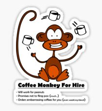 Coffee Monkey For Hire - Sticker Sticker