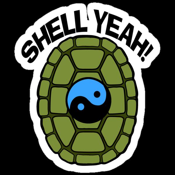 Shell Yeah Blue Sticker by cybercat
