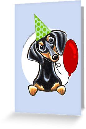 Black Tan Dachshund Birthday Card