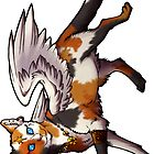 Calico Winged Cat Sticker by cybercat