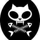Kitty skull with cross bones 2 by Jacqueline Gwynne