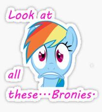 Rainbow Dash Afraid of bronies.  Sticker