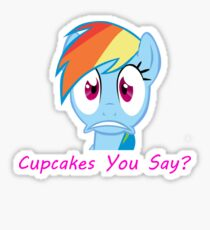 Rainbow Dash, Cupcakes You say? Sticker
