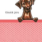 Chocolate Lab Pink Dots Thank You Cards by offleashart