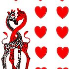 Giraffe Love - Red - Stickers by Kay Patterson