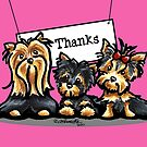 Yorkie Trio Pink Thank You Card by offleashart