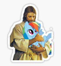 Jesus Loves Rainbow Dash Sticker
