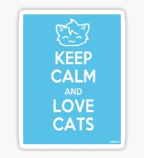 Keep Calm and Love Cats (Blue) Sticker