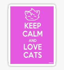 Keep Calm and Love Cats (Pink) Sticker