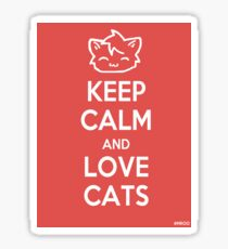 Keep Calm and Love Cats (Red) Sticker