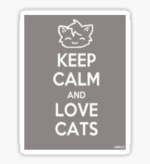 Keep Calm and Love Cats (Grey) Sticker