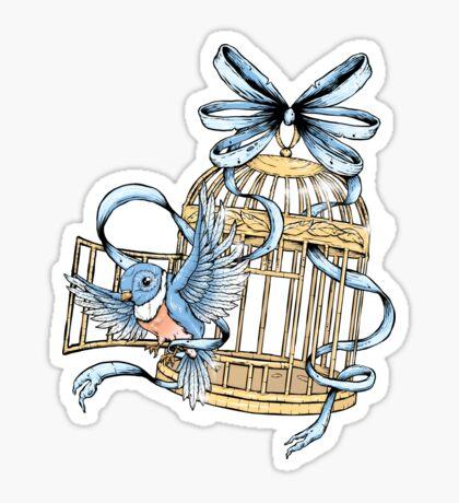 Bird With Cage Sticker