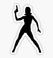 Girl with GUN pistol in hand Sticker