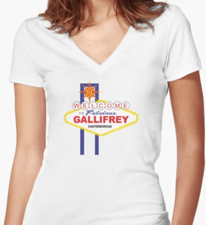 Dr Who - Welcome to Gallifrey Women's Fitted V-Neck T-Shirt