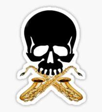 Skull with Saxophone Crossbones Sticker