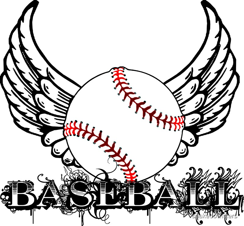 u0026quot baseball with wings u0026quot  stickers by shakeoutfitters