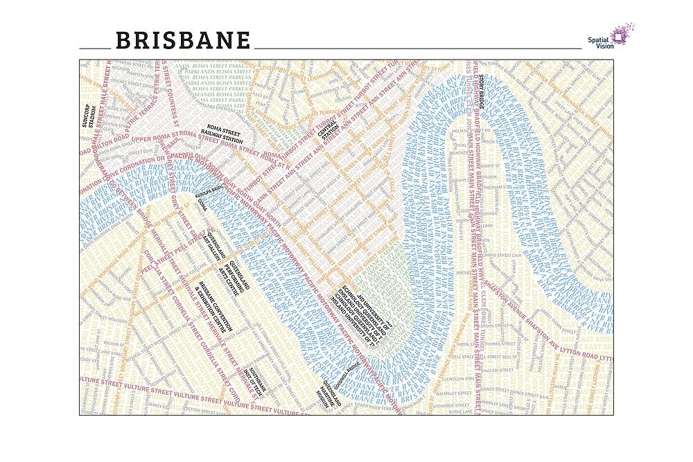Brisbane Typography Map by svmaps