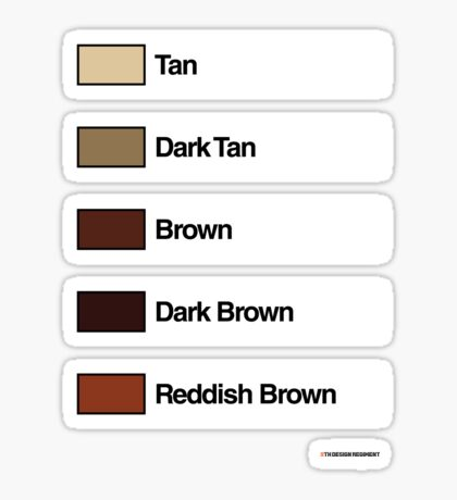 Brick Sorting Labels: Tan, Dark Tan, Brown, Dark Brown, Reddish Brown Sticker