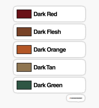 Brick Sorting Labels: Dark Red,  Dark Flesh,  Dark Orange,  Dark Tan,  Dark Green Sticker