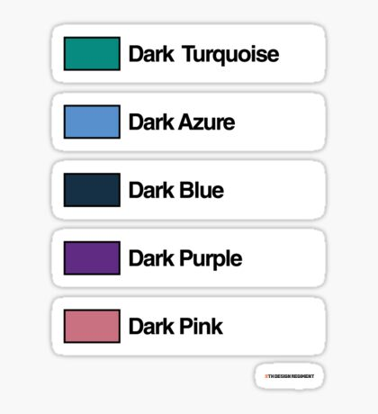 Brick Sorting Labels: Dark Turquoise, Dark Azure, Dark Blue, Dark Purple, Dark Pink Sticker