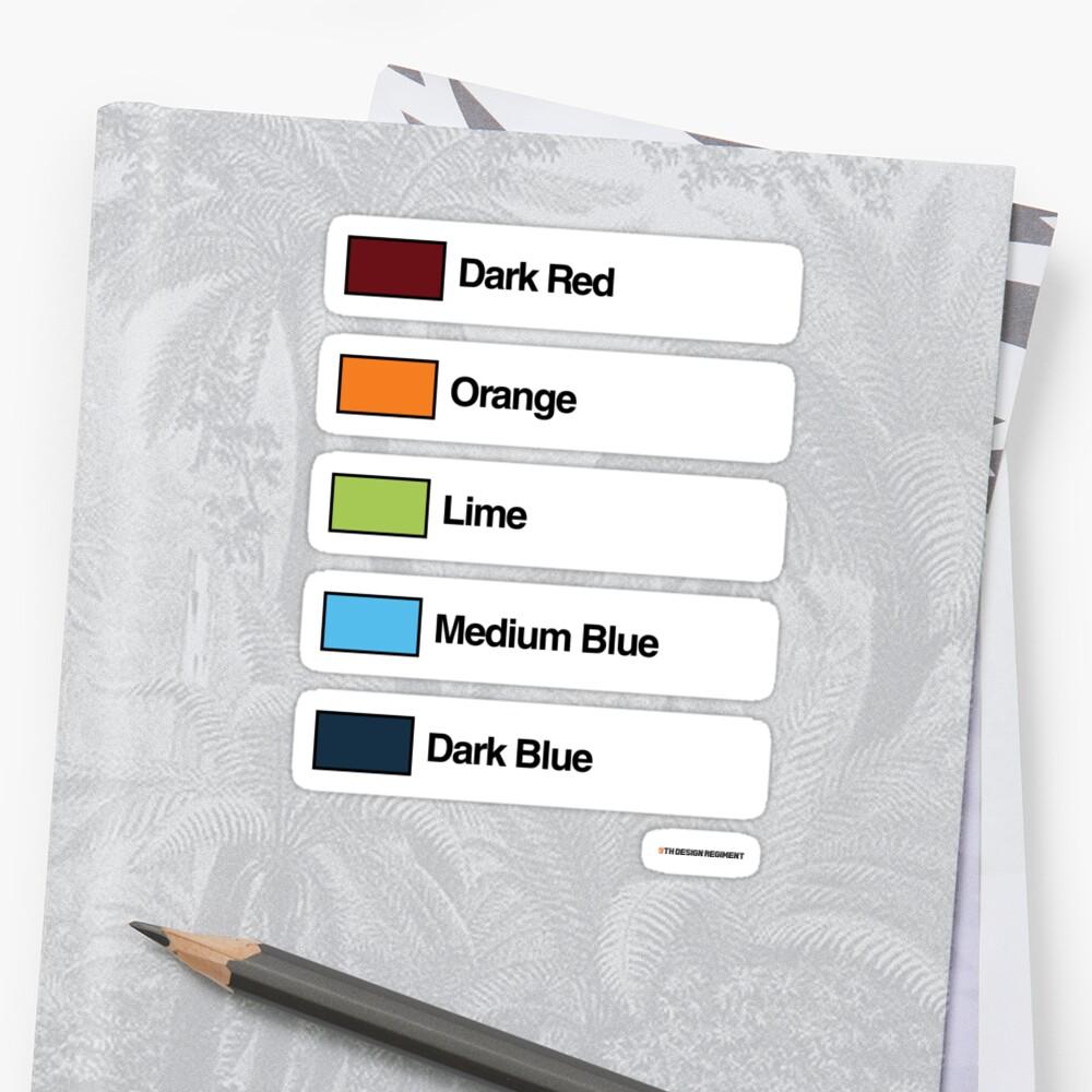 Brick Sorting Labels: Dark Red, Orange, Lime, Medium Blue, Dark Blue by 9thDesignRgmt