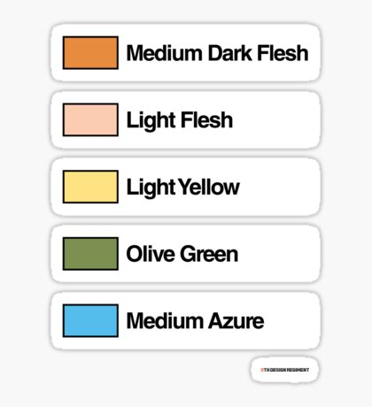 Brick Sorting Labels: Medium Dark Flesh, Light Flesh, Light Yellow, Olive Green, Medium Azure Sticker