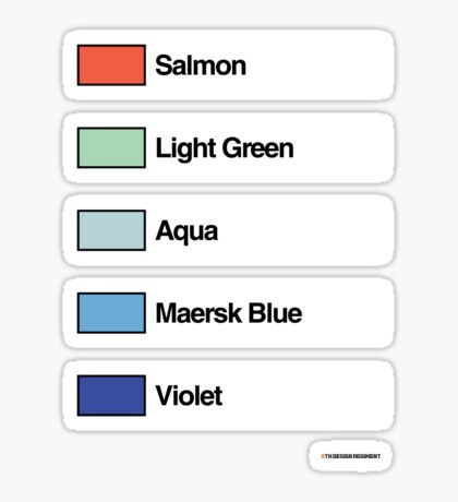 Brick Sorting Labels: Salmon, Light Green, Aqua, Maersk Blue, Violet Sticker