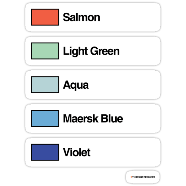 Brick Sorting Labels: Salmon, Light Green, Aqua, Maersk Blue, Violet by 9thDesignRgmt