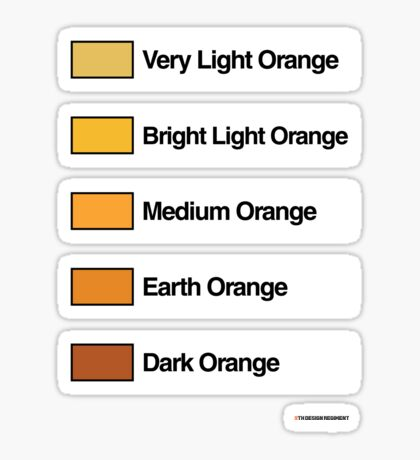 Brick Sorting Labels: Very Light Orange, Bright Light Orange, Medium Orange, Earth Orange, Dark Orange Sticker